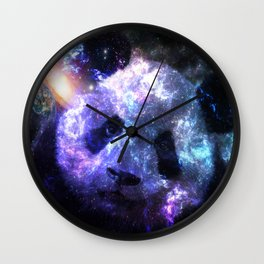 Galaxy Panda Planet Colorful Wall Clock