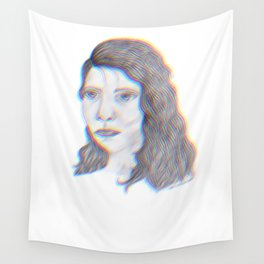 """SERIOUS - pencil illustration """"screen print"""" Wall Tapestry"""