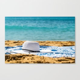 Travel Photography, White Beach Hat And Sunglasses, Summer Vacation, Holiday Time, Sea And Ocean Canvas Print