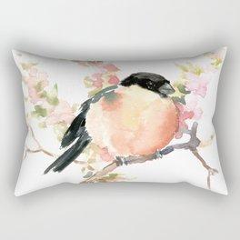 Bullfinch and Spring, Peach colored Floral bird art, spring soft colors Rectangular Pillow