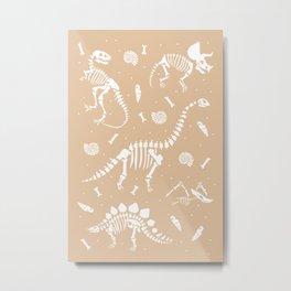 Dinosaur Fossils on Taupe Metal Print