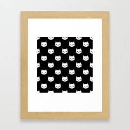 Cat minimal illustration pet cats head drawing digital pattern black and white nursery art Framed Art Print