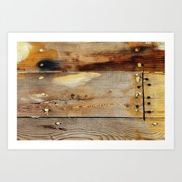 Wooden shipboard with nails and screws Art Print