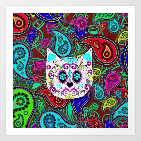 Hipster Cat Sugar Skull Teal Pink Retro Paisley Pattern Art Print