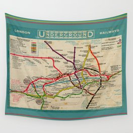 London Undergroud Map 1910 Wall Tapestry