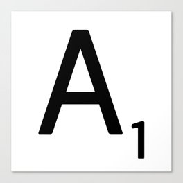 Letter A - Custom Scrabble Letter Wall Art - Scrabble A Canvas Print