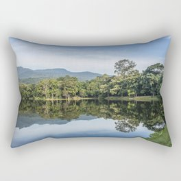Idyllic scenic landscape of Ang Kaew Reservoir lake, surrounded by trees and mountains. Rectangular Pillow