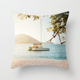 Fitzroy Island Catamaran | Cairns Australia Tropical Beach Sunset Photography Throw Pillow