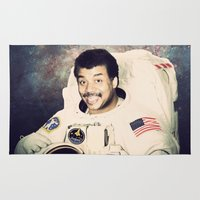 neil gaiman Area & Throw Rugs featuring Neil deGrasse Tyson - Astronaut in Space by Nicholas Redfunkovich