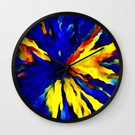 blue yellow Wall Clock