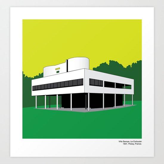 Modern Architecture Prints villa savoye, le corbusier - modern architecture series art print