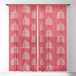 Scandinavian Folk Art Christmas Tree Sheer Curtain