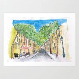 Barcelona Morning Walk at La Rambla Art Print