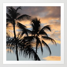 Palm trees against sunset Art Print