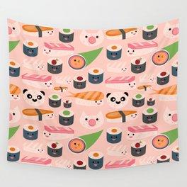 Kawaii sushi light pink Wall Tapestry