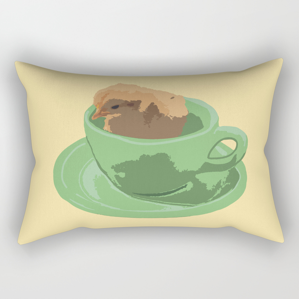 Baby Chick In Jadeite Cup Illustration Rectangular Pillow RPW8830669