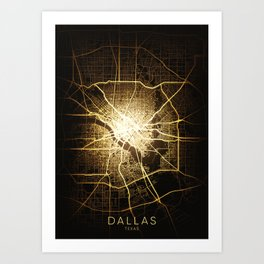 dallas usa Texas city night light map Art Print
