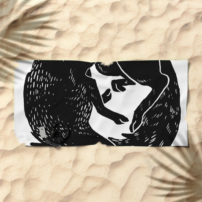 black and white thoughts Beach Towel