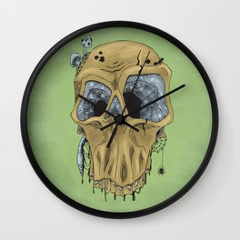 Weathered Skull Wall Clock