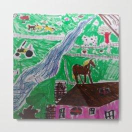 Happy Home Farm Ranch Kids Art Abstract Metal Print