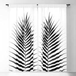 Palm Leaf Watercolor | Black and White Blackout Curtain