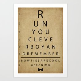 Run You Clever Boy - Doctor Who Inspired Vintage Eye Chart Art Print
