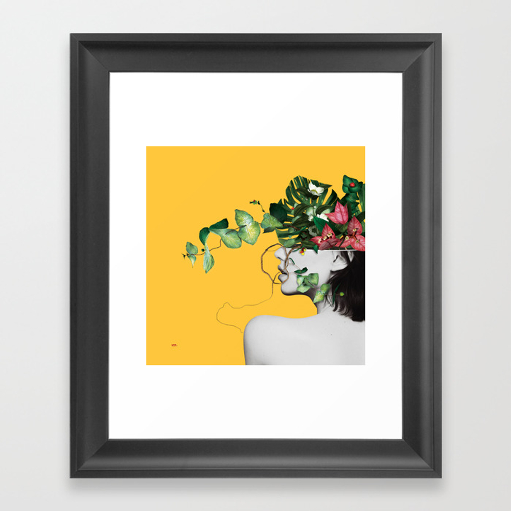 Lady Flowers Framed Art Print by Linco7n