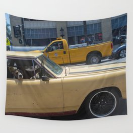 Dog in a car Wall Tapestry