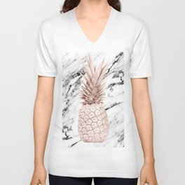 Rose Gold Pineapple on Black and White Marble Unisex V-Neck