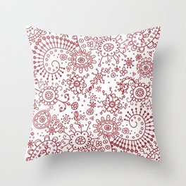 Graphic Ink Doodles (red) Throw Pillow