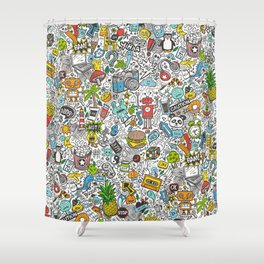Comic Pop art Doodle Shower Curtain