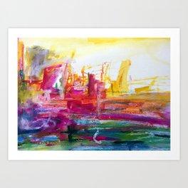 Across, Mixed media Abstract Landscape Art Print