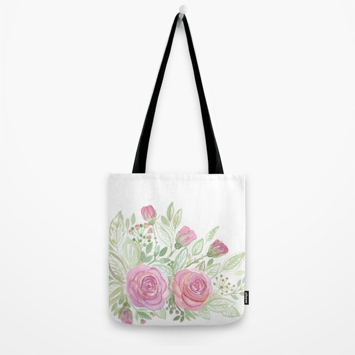 Watercolor . A bouquet of roses . Tote Bag