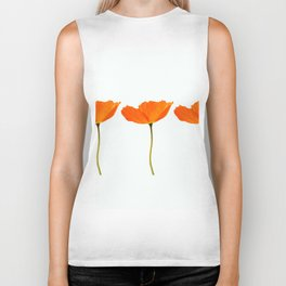 Three Orange Poppy Flowers White Background #decor #society6 #buyart Biker Tank