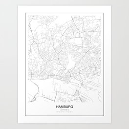 Hamburg, Germany Minimalist Map Art Print