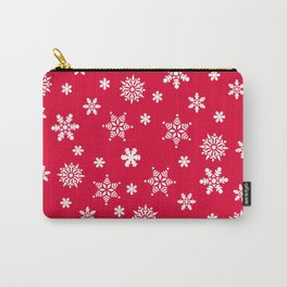 Snow Flurries-Christmassy Red Carry-All Pouch