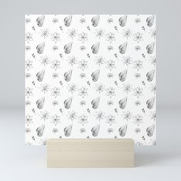 Flowers, Leaves and Seeds Hand Drawn Nature Pattern Mini Art Print