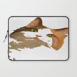 I'm All Ears - Cute Calico Cat Portrait Laptop Sleeve