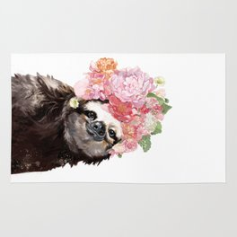 Sloth with Flowers Crown in White Rug