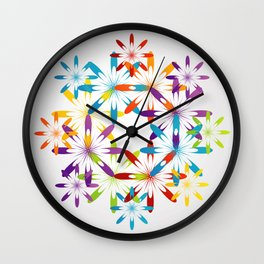 A large Colorful Christmas snowflake pattern- holiday season gifts- Happy new year gifts Wall Clock