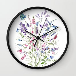 vintage wildflowers arrangement 2020 Wall Clock