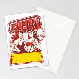 Twin Cleaners Clean 1950s Retro Stationery Cards