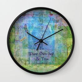 To Thine Own Self Be True Shakespeare Quote Wall Clock