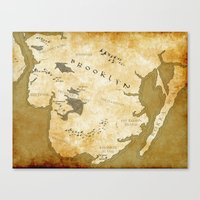 westeros Canvas Prints featuring Fantasy Map of Brooklyn: Gold Parchment by Midgard Maps