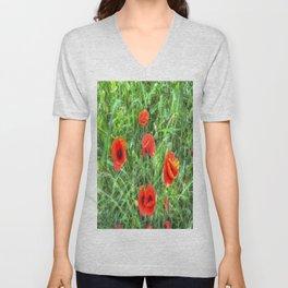 Summer Poppy Unisex V-Neck