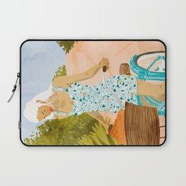 Biking In The Woods #illustration #painting Laptop Sleeve