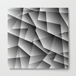 Exclusive monochrome pattern of chaotic black and white geometric shapes. Metal Print