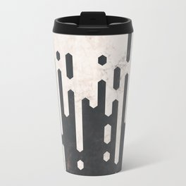 Marble and Geometric Diamond Drips, in Charcoal Grey and Light Beige Travel Mug