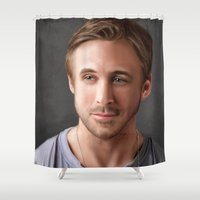 ryan gosling Shower Curtains featuring Ryan Gosling by Mailys Brau