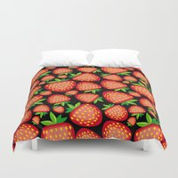 strawberry Duvet Covers featuring Strawberry by LaDa